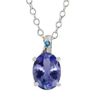1.56 Ct Oval Blue Tanzanite and Blue Diamond Argentium