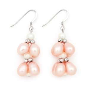 Sterling Silver Pink and White Freshwater Pearl Earrings QE 10017 AM