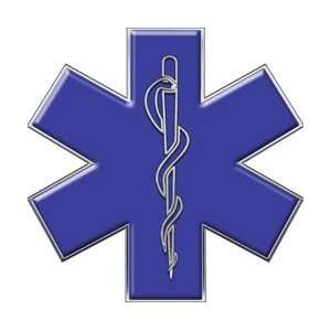 Blue Star of Life EMT EMS 6 Reflective Decal Automotive