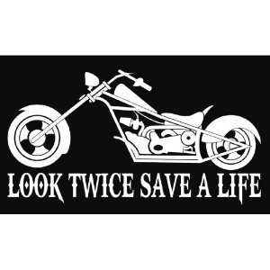 Look Twice Save A Life Motorcycle Chopper Cruiser Vinyl Decal Sticker