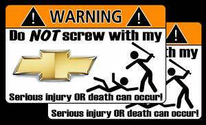 Funny Chevy logo warning sticker Camaro Avalanche decal