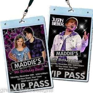 10 Justin Bieber Invitations * Birthday Party Invites VIP Pass Favors