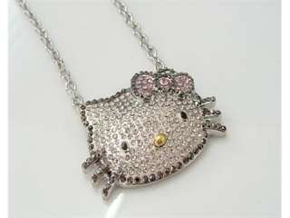High Quality Large hello kitty Crystal bow necklace t4