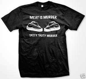 Meat Is Murder Tasty Murder Funny T shirt PETA Vegan