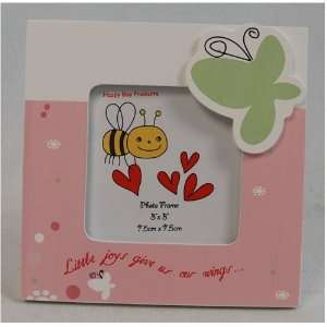 3x3 Green butterfly flowers wood photo frame Baby