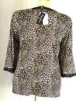 Maggie Barnes Leopard Print Cardigan PLUS SIZE 4X 30 32 Petite Brown