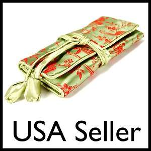 TRAVEL BAG Roll Case Pouch Carrying Zipper Brocade Fabric Green NEW