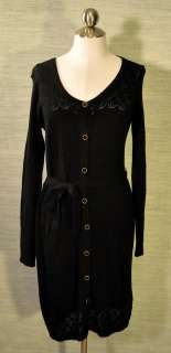 Old Navy Black Lace Knit Button Up Sweater Dress Long Sleeves Brass