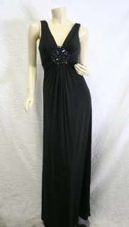 ELEGANT BRAND NEW BCBG MAX AZRIA BLACK COLORED JERSEY KNIT LONG GOWN
