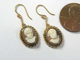 SUPERB ANTIQUE 15K GOLD SHELL CAMEO EARRINGS EROS CUPID
