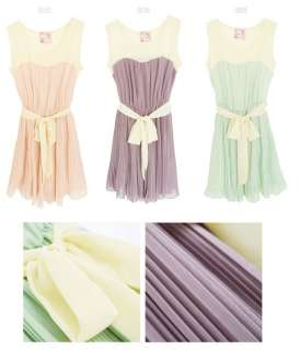 Cute girls and womens summer dress Purple Green Pink