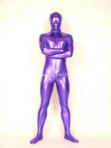 Full body lycra spandex zentai costume shiny metallic purple catsuit