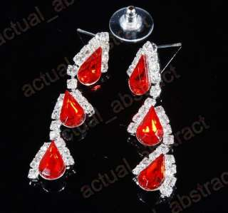 red clear rhinestone drop necklace earring1set