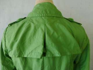 ZARA BASIC~Anthropologie~Bright Green Flirty Military Belted Pea Coat