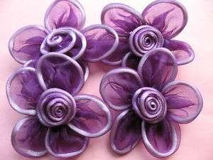 10 Big 2.5 Organza Ribbon Flower/Satin  Dark purple