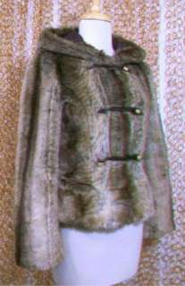 Juicy Couture Gorgeous Brown Faux Fur Toggle Hooded Coat Jacket sz P
