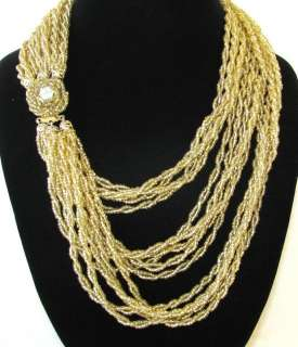 FANTASTIC VINTAGE 27 MULTI STRAND GOLD BEAD TORSADE JEWELRY NECKLACE