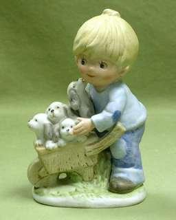 Homco 1402 Boy Wheelbarrow Of Puppy Dogs Denim CUTE