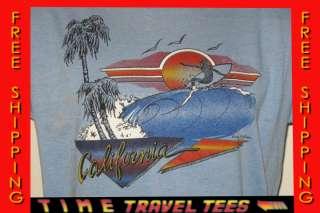 70s CALIFORNIA SURF T Shirt MEDIUM beach skate neon tourist thin 80s