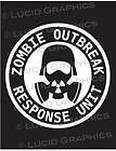 Outbreak Response Unit Vinyl Decal Sticker Vehicle Horror Funny