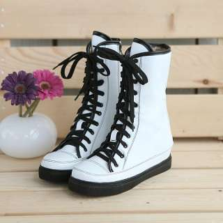 Pink Lace Up Military Combat Ankle Boots Shoes #581d