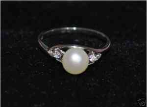 925 sterling silver White Pearl Promise Ring #5, 6,7,8