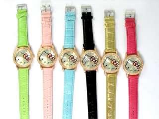 New Fashion Lovely Green HelloKitty Crystals Stone Quartz Wrist Watch