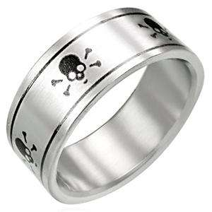 Silver Stainless Steel Ring Band Skull and Cross Bones