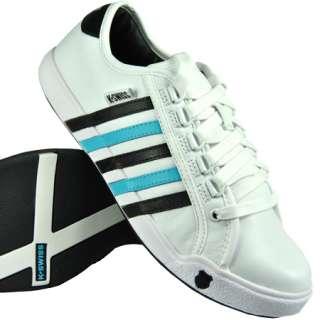 Swiss Newport Trainers White/Black/Blue Mens Size