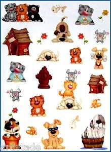 x11Pg PUPPY DOG KITTY CAT PET STICKERS #38