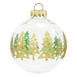 Green And Gold Trees Glass Ornament