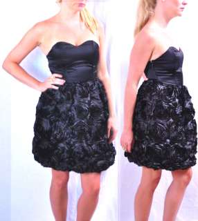 289. NWT Black Rosette Floral Strapless Satin Dress . So beautiful in