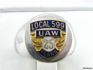 UNITED AUTO WORKERS UAW Union Gold Sterling Silver RING