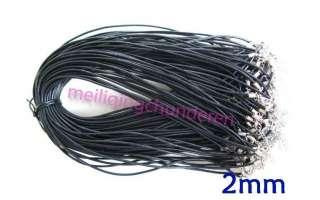 Genuine black leather necklace cords 100pcs 2mm 18