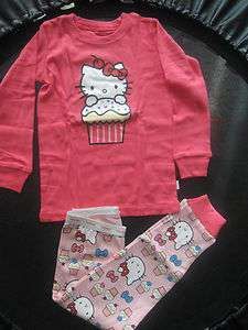 Baby Gap Cotton Pajamas Girls Hello Kitty Long Underwear 2T 3T 4T 5T 6