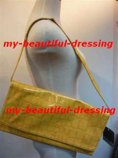 MW006891   2 WAYS YELLOW CROCO PRINT CLUTCH   SHOULDER BAG