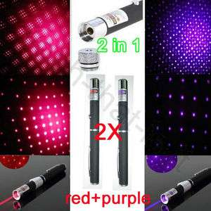 2x 2in1 star cap purple + red Laser Pointer Pen Professional High