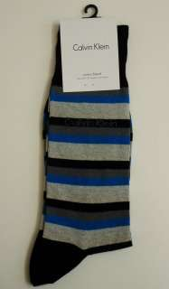 CALVIN KLEIN Mens Cotton Blend Stripe Dress Socks Shoe Size 7 12