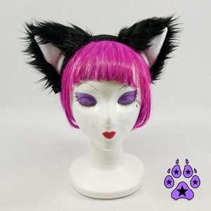 KITTY cat TAIL EARS COMBO cosplay cYbEr Goth Anime furry HEADBAND fur