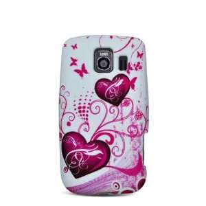 Purple Hearts with Pink Butterfly Soft Silicone Skin Gel Cover Case