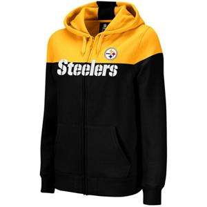 Reebok Pittsburgh Steelers Ladies Black Gold Football Full Zip Hoodie