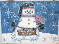 Country Snowman Warm Winter Wishes Wood Sign Home Decor
