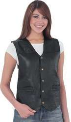 Ladies Classic Black Leather Motorcycle Rider Vest XL