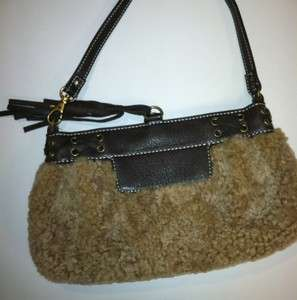 AUTHENTIC UGG AUSTRALIA SHEEPSKIN LEATHER SHOULDER CLUTCH PURSE BROWN