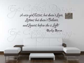 Marilyn Monroe A Wise Girl Quote Love Lettering Wall Decal Vinyl Decor