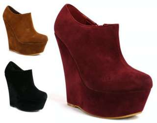 44K WOMENS LADIES HIGH WEDGE ZIP PLATFORM ANKLE SHOE BOOTS SIZE 3 8