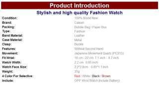 Fashion Leather Classic Woman Ladies Wrist Watch Quartz 4 Colors 4501