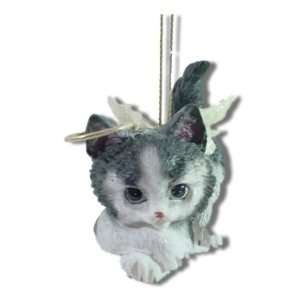 Black and White Kitten Kitty Cat Angel Christmas Ornament