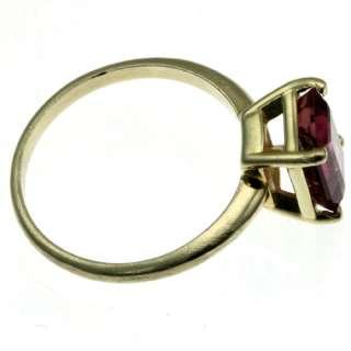 14k yellow gold emerald cut pink tourmaline ring