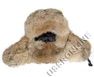Russian Brown Grey Natural Hare Fur Ushanka Hat + Soviet Army Badge